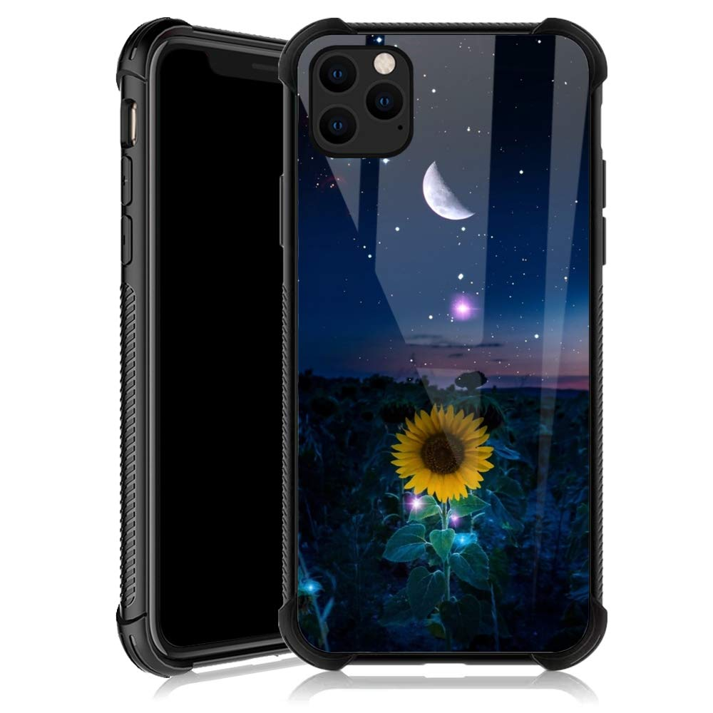 iPhone 11 Case,Sunflower Moon iPhone 11 Cases for Girls,Tempered Glass Back Cover Anti Scratch Reinforced Corners Soft TPU Bumper Shockproof Case for iPhone 11