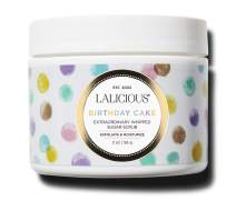 LALICIOUS Birthday Cake Extraordinary Whipped Sugar Scrub - Pink Shimmer Body Scrub with Coconut Oil & Honey (2 Ounce Travel Size)