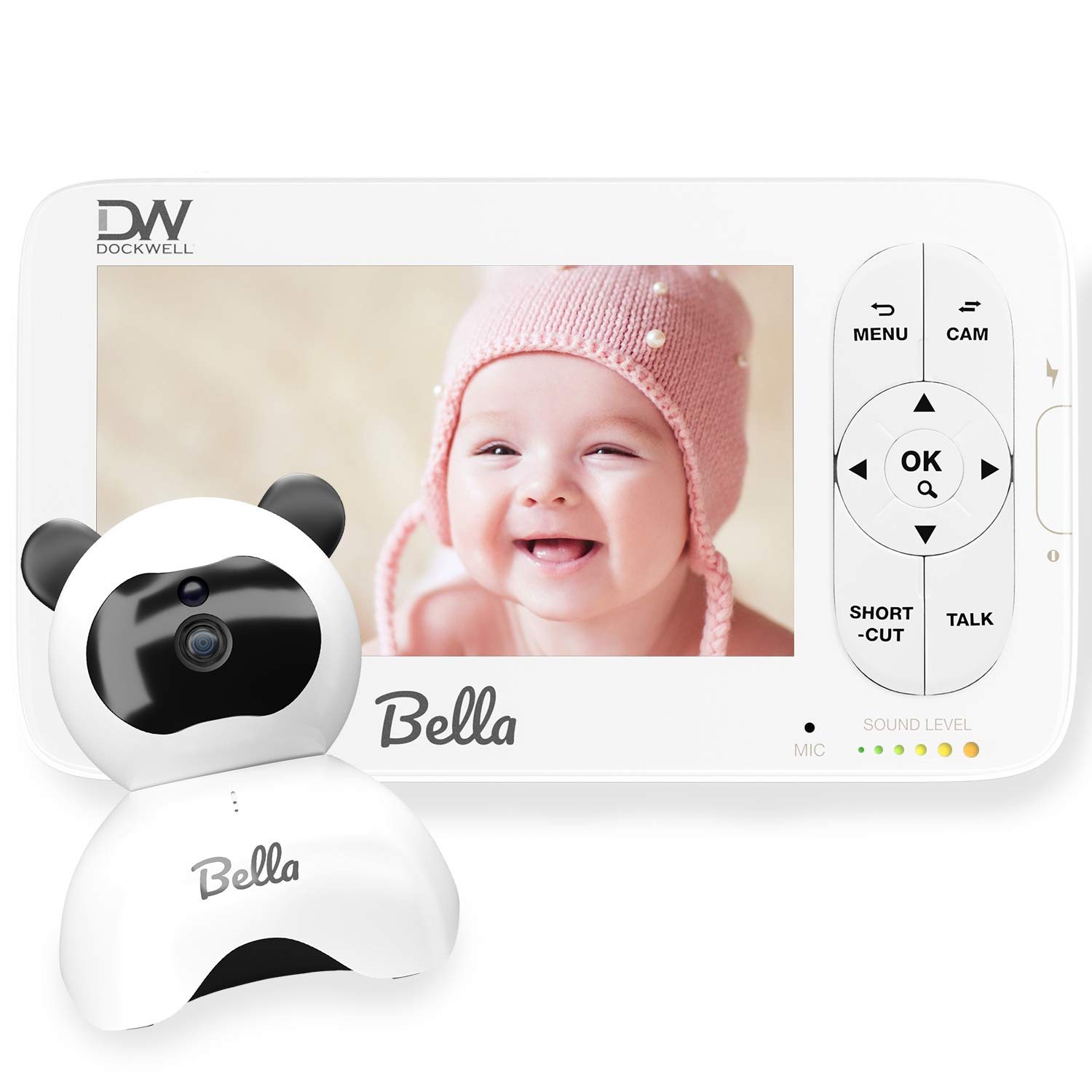 """Dockwell Bella Baby Monitor Video with Camera and Audio - 5"""" LCD Display - HD Clear Picture Quality - Wide Angle 340 Degrees Pan 90 Degrees Tilt - 2 Way Audio - Alerts - Night Vision, White"""