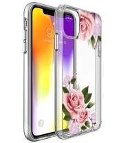 SPEVERT iPhone 11 Case 6.1 inches, Flower Pattern Printed Clear Design Transparent Hard Back Case with TPU Bumper Cover for iPhone 11 6.1 inch 2019 Released - Pink Rose