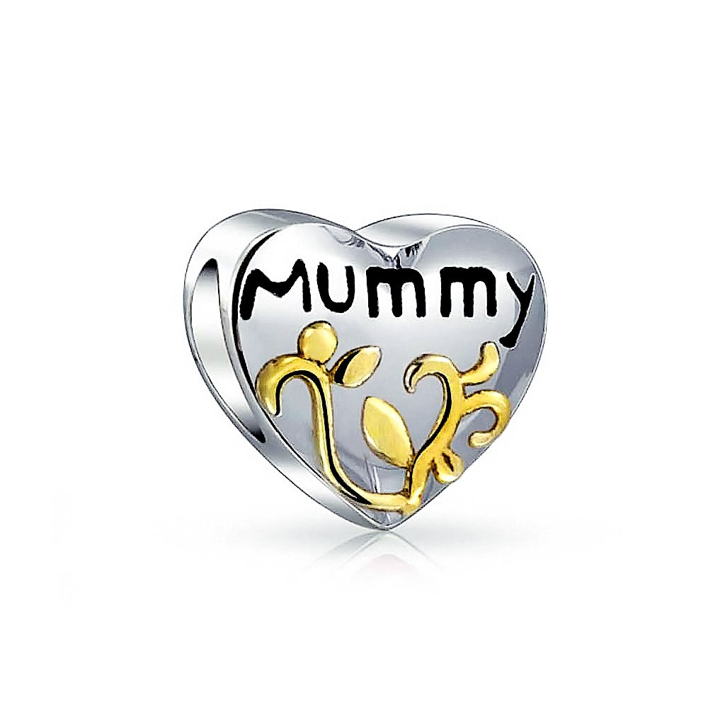 Heart Shaped Mummy Mother Rose Charm Bead For Women 2 Tone 14K Gold Plated 925 Sterling Silver Fits European Bracelet