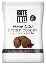 BITE FUEL Power Bites High Protein Cookies, Non GMO, Gluten Free, Low Carb - Double Chocolate Chip Cookies, 2.47 Oz (8 Pack)