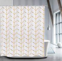 """LIVILAN Fabric Shower Curtain Set with 12 Hooks Geometric Patterned Shower Curtain Machine Washable Decorative Bathroom Curtain Gold and White Shower Curtain Bathroom Decor 72"""" x 72"""""""