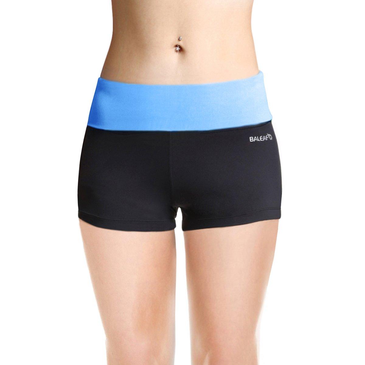 BALEAF Women's High Waist Swim Yoga Volleyball Shorts Running Workout Tennis Athletic Shorts Inner Pocket Little Boy Blue Size XL