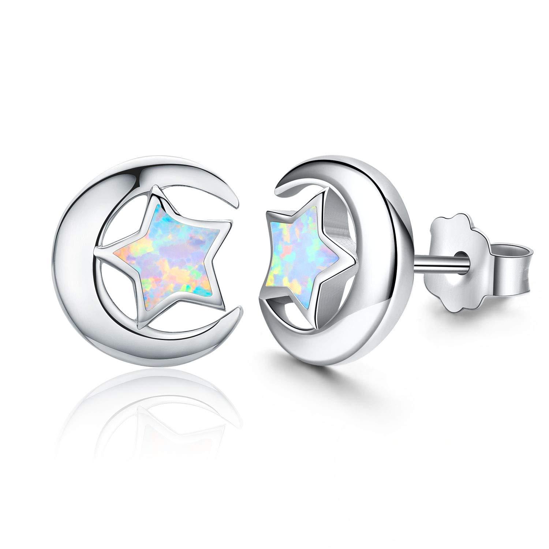 Hypoallergenic Earrings Synthetic Opal Star Stud Earrings Tiny Small Earrings Gifts for Women Earrings Sterling Silver Minimalist Jewelry for Sensitive Ears