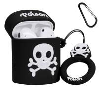 Lupct Black Poison Compatible with Airpods 1/2 Case Silicone, Cute Cartoon 3D Cool Air pods Design Cover, Fun Fashion Stylish Funny Cases for Kids Girls Teens Boys Style Character Skin Keychain Airpod