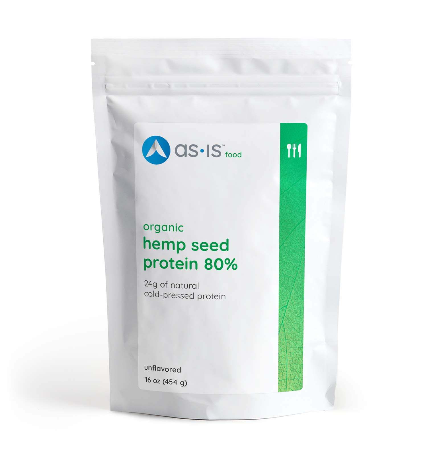 as-is Organic Hemp Seed Protein Powder 80%, Plant-Based, Vegan, Non-GMO, Unflavored, 16oz