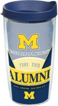 Tervis 1223715 Michigan Wolverines Alumni Tumbler with Wrap and Navy Lid, 16 oz - Tritan, Clear