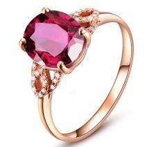 Graceful Design Pink Tourmaline Engagement Diamond 14K Solid Rose Gold Ring Wedding for Women
