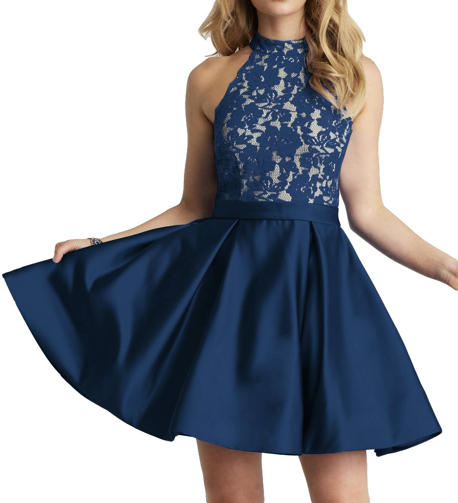 Homecoming Dress High Neck Short Cocktail Dresses Sleeveless Prom Dress Gown Lace Homecoming Dresses