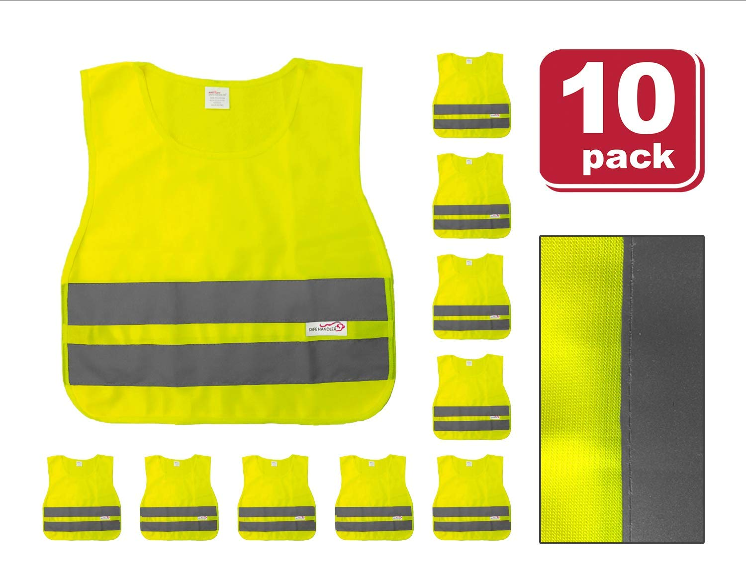 SAFE HANDLER Child Reflective Safety Vest | Lightweight and breathable, bright colors for child public safety, 100% polyester, Yellow, Medium, 10 PACK