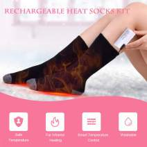 Lixada Warm Thermal Socks Electric Heated Socks Cotton Thick Thermal Socks Rechargeable Wireless Battery Heated Socks for Men and Women