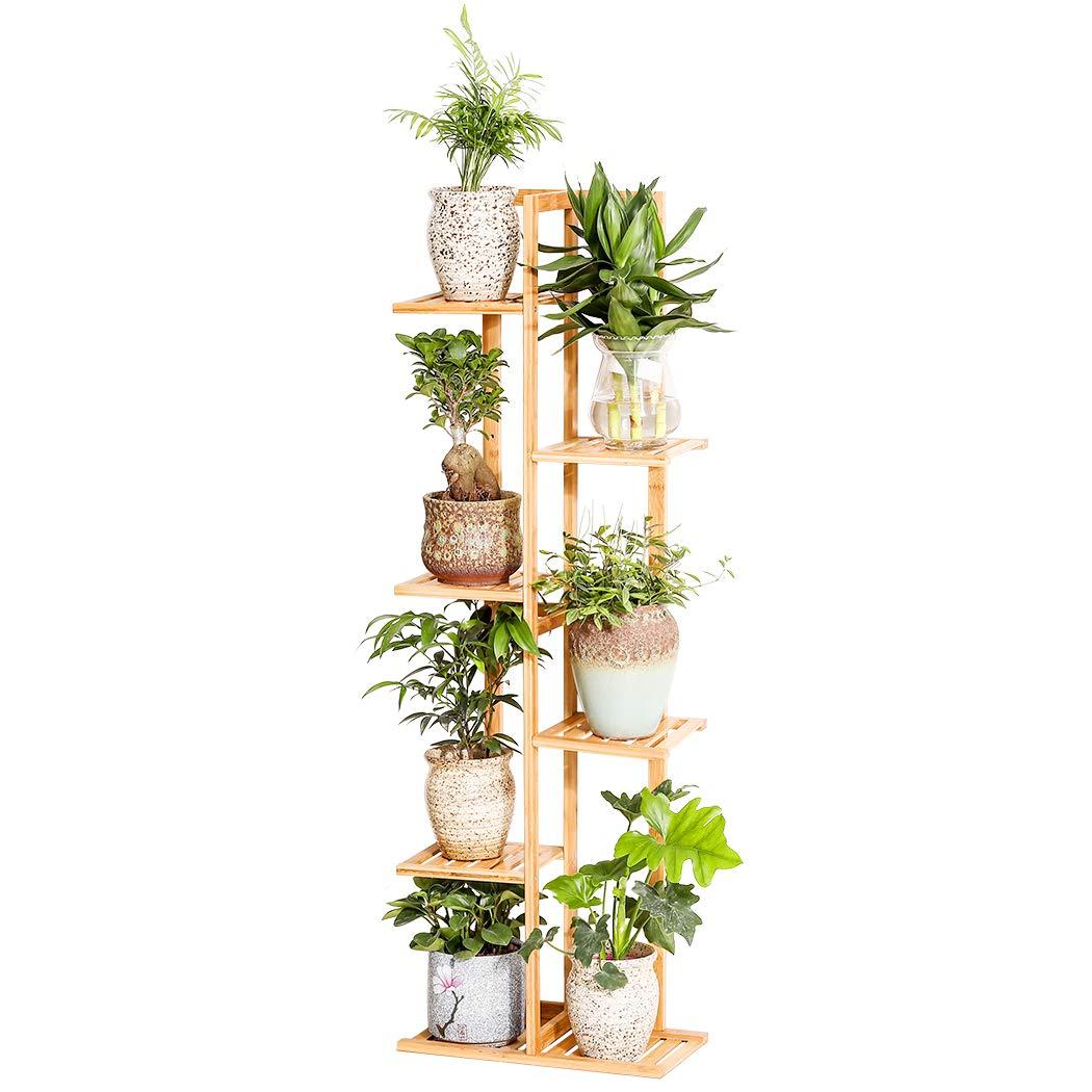 Bamboo 6 Tier 7 Potted Plant Stand Rack Multiple Flower Pot Holder Shelf Indoor Outdoor Planter Display Shelving Unit for Patio Garden Corner Balcony Living Room