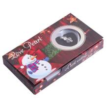 GEM-Inside Merry Christmas Snowman Cage Love Wish Pearl Silver Plated Necklace Kit Gift Pearl in Oyster
