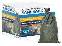 "Sandbaggy - Empty Poly Sandbags W/UV Protection - Size: 14"" x 26"" - Color: Green - Military Grade (5,000 Bags)"
