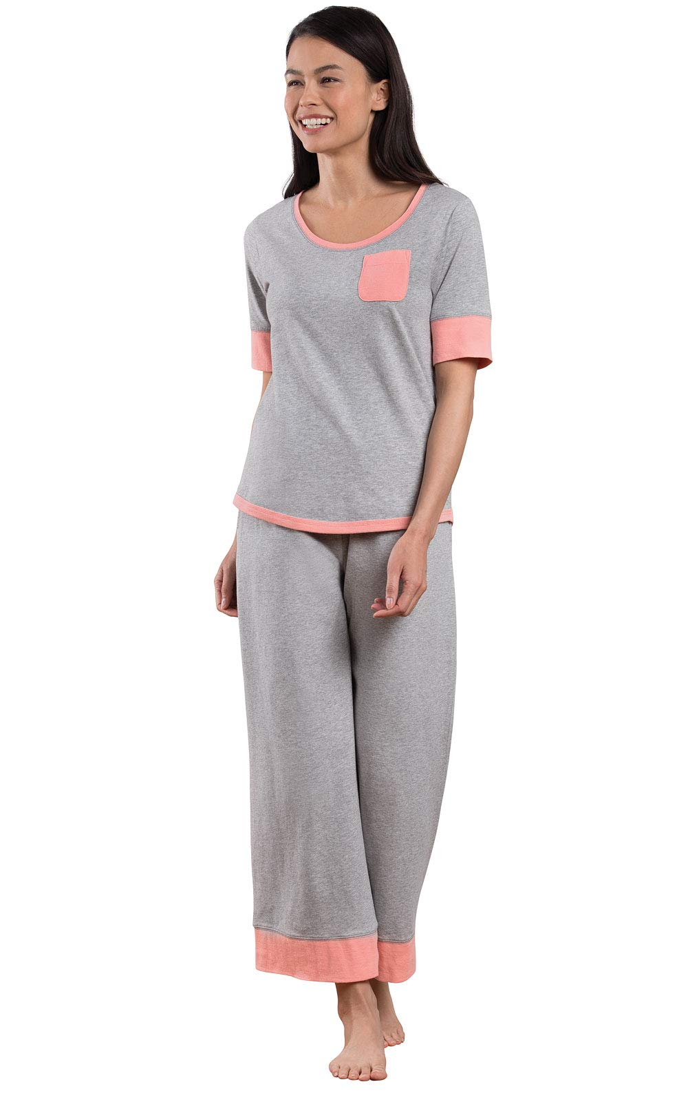 PajamaGram Cotton Pajamas Women Cozy - Capri Womans Pajamas, Gray