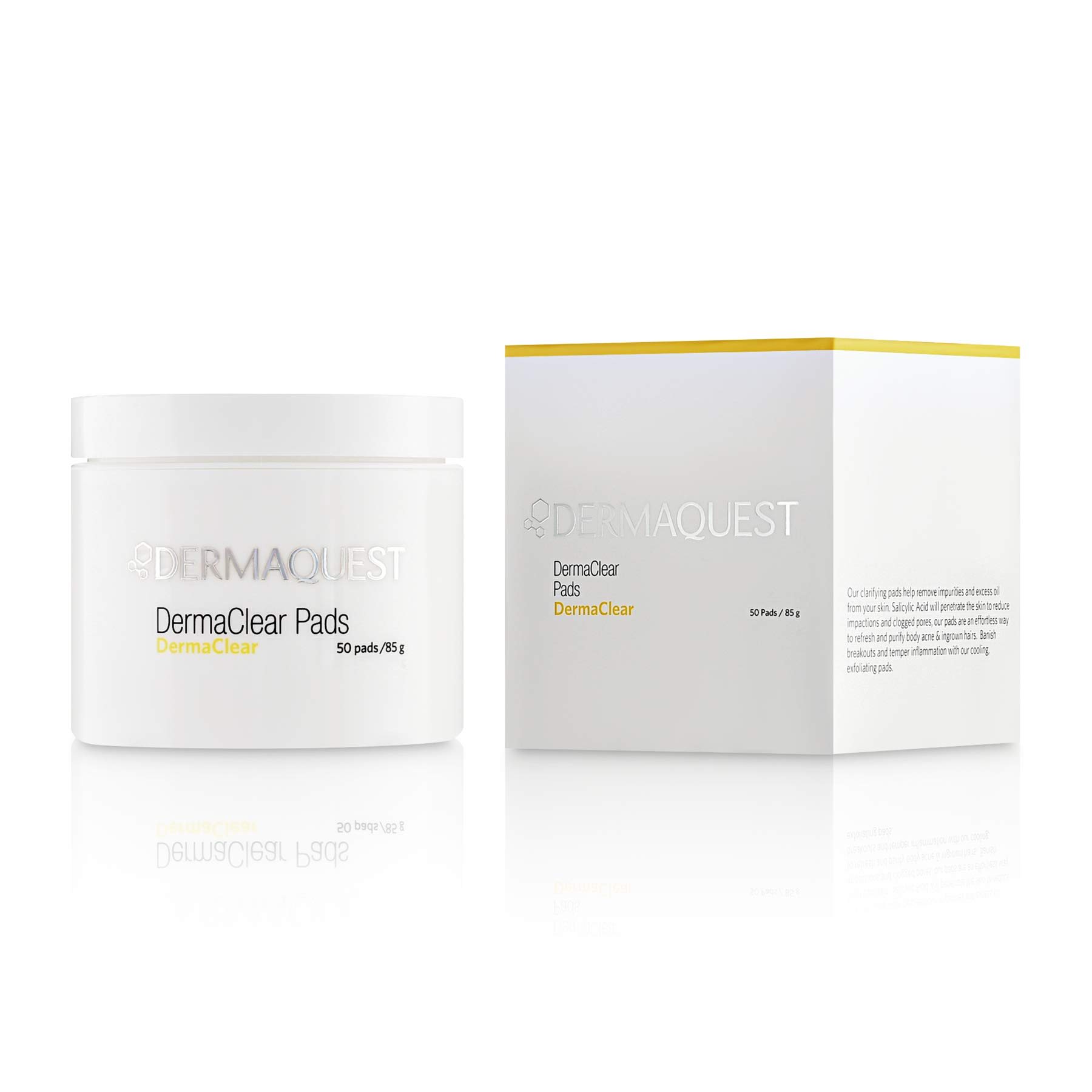 DermaQuest DermaClear Pads - Salicylic Acid Acne Treatment For Adults & Teens - Acne Wipes For Face, Neck, Chest, & Back (50 Pads)
