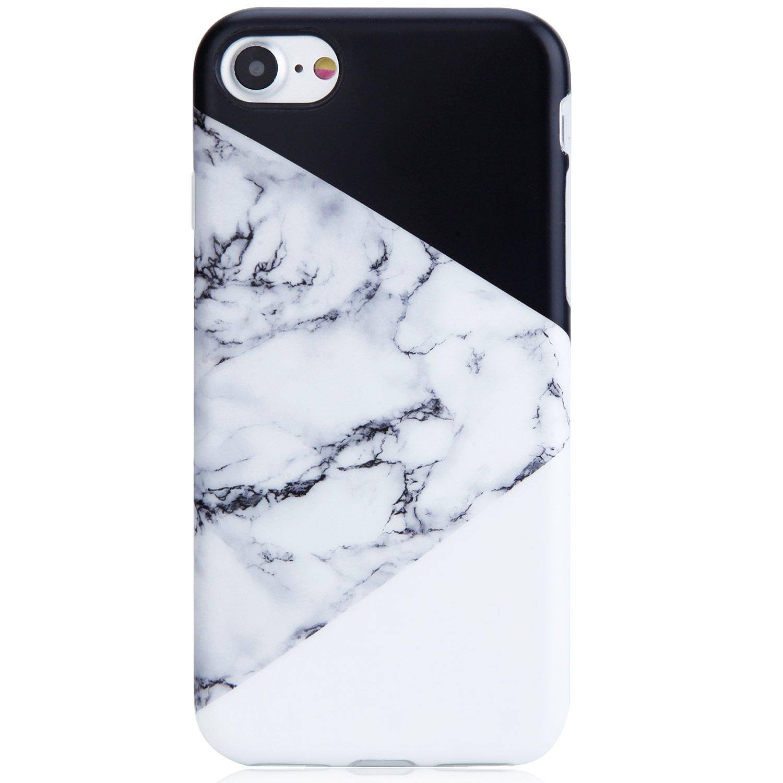 iPhone SE2 Case 2020,iPhone 7 Case,iPhone 8 Case,VIVIBIN Cute Black White Marble for Men Women Girls TPU Cover Slim Fit Thin Phone Case for iPhone 7/iPhone 8/ New iPhone SE2
