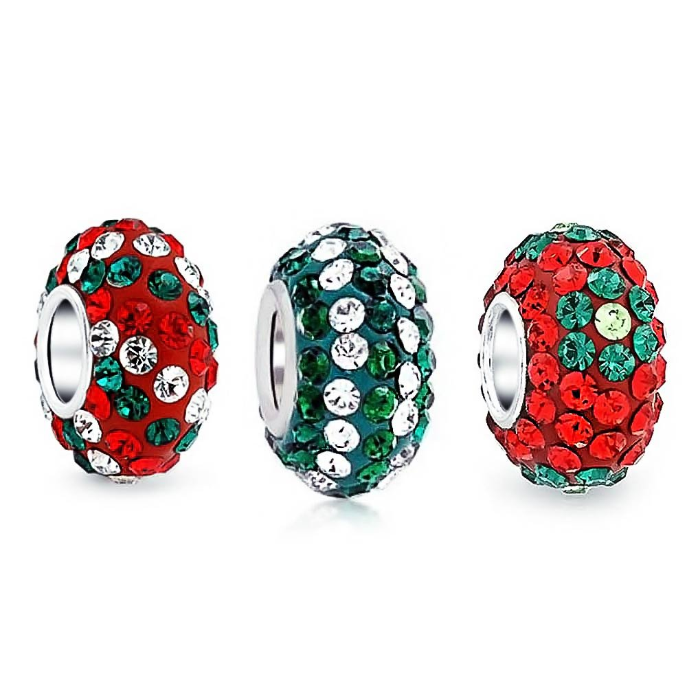 Christmas Red Green Flower Striped Crystal Mix Set Of 3 Sterling Silver Spacer Dangle Bead Fit European Charm Bracelet