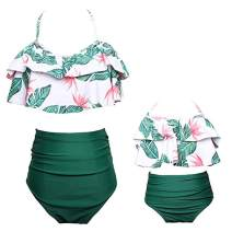 Baby Girls Swimsuits Womens High Waisted Bikini Sets Family Matching Mommy and Daughter Swimwear Bathing Suits