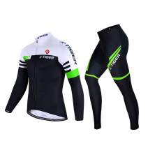 X-TIGER Men's Cycling Jersey Set Long Sleeve Winter,Biking Jersey+5D Gel Padded Pants,MTB Road Bike Bicycle Clothing Set