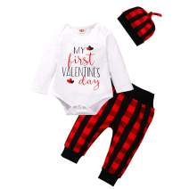 Infant Baby Boy Valentine's Day Outfits My First Valentine's Day Romper Tops Red Plaid Pants with Hat Clothes Set