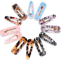 12 Pcs Resin Hair Clips For Girls Women, Teenitor Non-Slip Large Barrettes Alligator Clip Hair Accessories (6 Colors, Hollow Tortoiseshell Pattern, Rectangle & Water Drop Shaped)