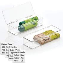 mDesign Plastic Stackable Kitchen Pantry Cabinet/Refrigerator Food Storage Container Box, Attached Lid - Organizer for Coffee, Tea, Packets, Snack Bars - Pack of 2, Includes 32 Labels - Clear