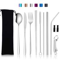 Moyad Silverware Set with Case Travel Utensils Tableware Set Portable Eating Cutlery Set with Fork, Spoon, Knife, Chopsticks,Metal Straws, Bottle Opener, Carrying Bag (10 Pieces Natural)