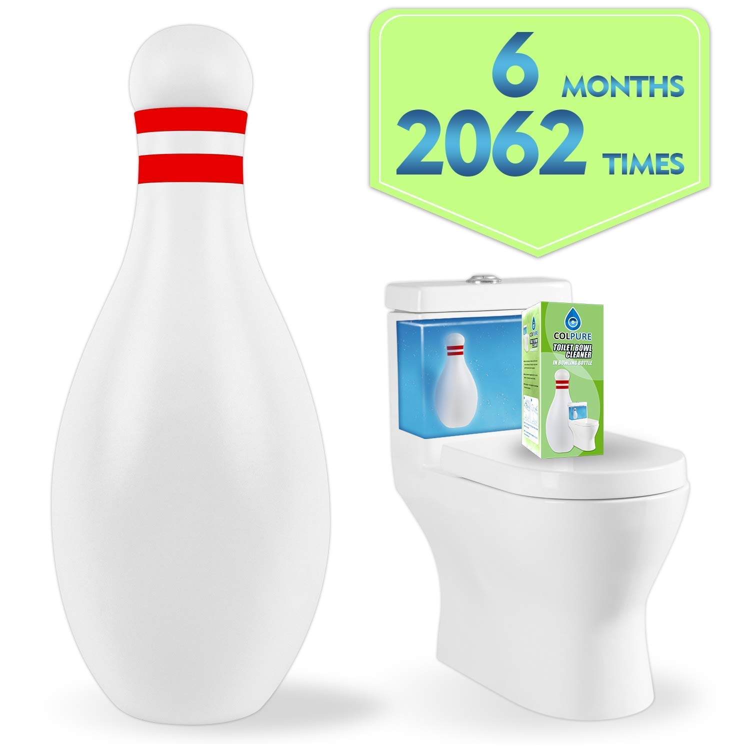 Colpure Toilet Bowl Cleaner, Automatic Bathroom and Tank Cleaning System Toilet Cleaner, Toilet Bowl Cleaner Tablets of Lasts 6 Months or has About 2,000 Flushes -1 Pack (Green)