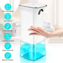 IVSO Automatic Foaming Soap Dispenser, Touchless Soap Dispenser, 350ml Hands Free Infrared Motion Sensor Countertop/Wall Mounted Auto Foam Soap Pump for Bathroom Kitchen Toilet Office Hotel (White)