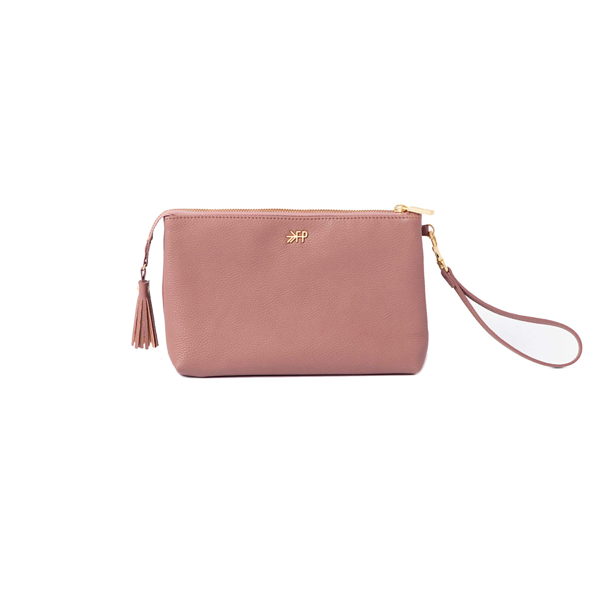 Freshly Picked - Classic Zip Pouch - Diaper Bag Accessory - Vegan Leather Clutch Wallet - Desert Rose Pink