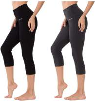 Ogeenier Women's High Waisted Yoga Capri 3/4 Pants with Pocket, Tummy Control 4 Way Stretch Workout Yoga Leggings