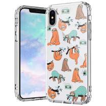 MOSNOVO iPhone Xs Case, iPhone X Case, Cute Sloth Pattern Printed Clear Design Transparent Plastic Hard Back Case with TPU Bumper Protective Case Cover for iPhone X iPhone Xs