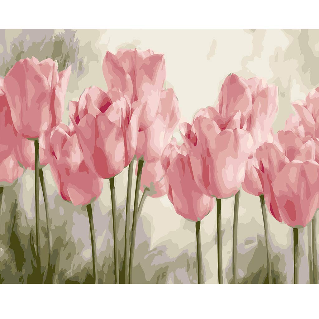 16 W x 20 L Drawing Paintwork with Paintbrushes Canvas Oil Painting Kit for Kids /& Adults Acrylic Pigment-Flying Flower COLORWORK DIY Paint by Numbers