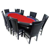 BBO Poker Lumen HD Lighted Poker Table for 10 Players, 101.5 x 46-Inch Oval, Includes 10 Dining Chairs