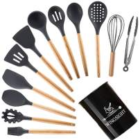 Silicone Kitchen Cooking Utensils Set 12 Pcs Nonstick Cookware Tool Baking Set Spoon Spatula with Wooden Handle (BLACK)