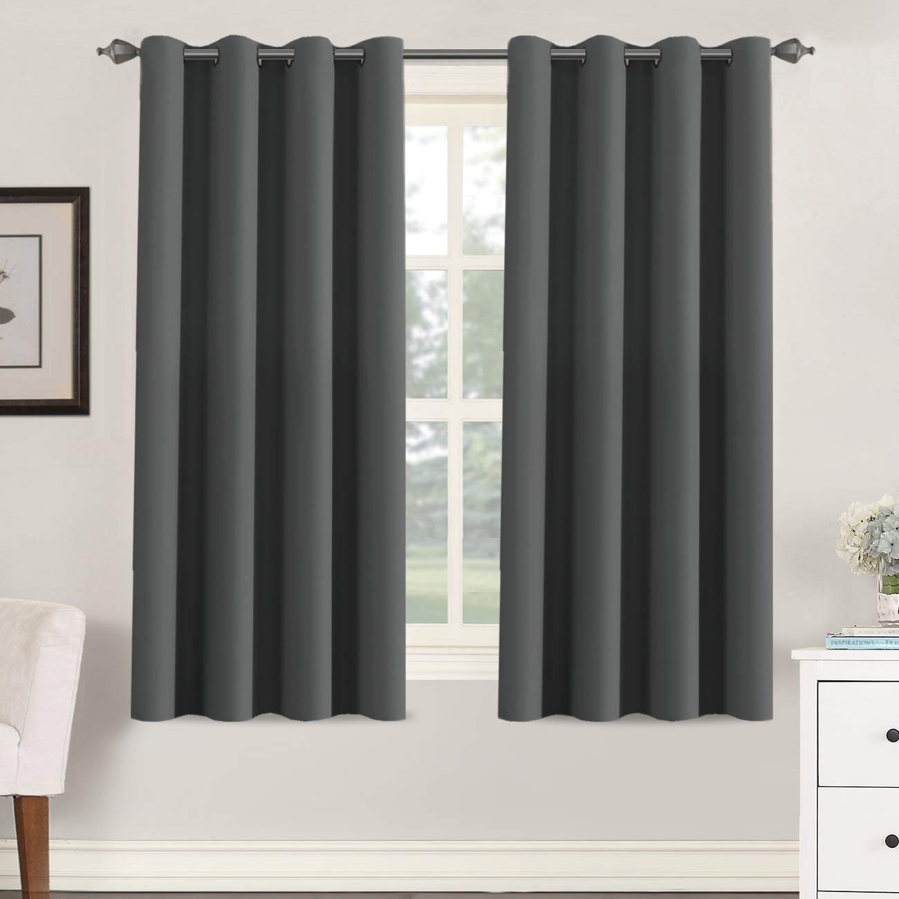 """H.VERSAILTEX Blackout Grey Curtains for Bedroom/Living Room, 52"""" Wide x 63"""" Long Each Panel,Grommet Top (Set of 2 Panels, Charcoal Gray)"""
