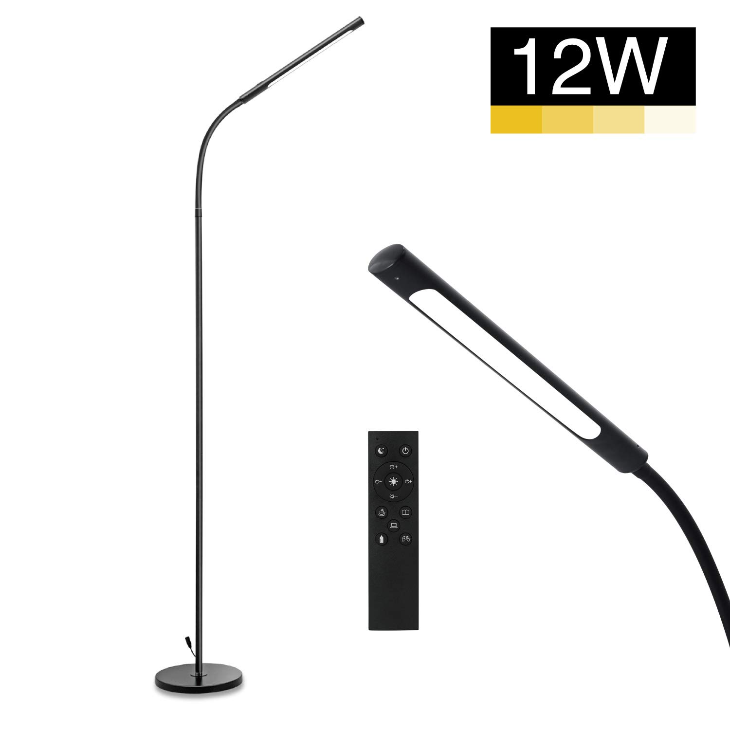 IMIGY 12W Floor Lamp, 600 Lumens Dimmable Flexible Gooseneck Standing LED Lamp, 4 Color Modes, Stepless Brightness Dimmable, Eye-Care Touch & Remote Control for Living Room, Bedroom, Office, Black