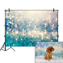 Allenjoy 7x5ft Abstract Bokeh Shiny Backdrop for Photography Blue Gold (No Glitter) Polka Dots Sparkle Mermaid Birthday Party Newborn Baby Shower Pets Portrait Product Photo Studio Props Background