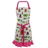 Cate Chestnut Pink Hoot Hoot Hooray Owl 2-in-1 Apron   Full Apron to Half Apron   Handmade USA   Cooking, Crafting, Gift