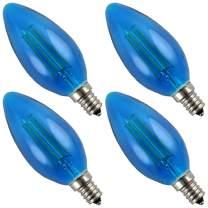 Pack of 4 Luxrite CTC Blue Edison Filament LED Bulb, 40W Equivalent- 4 Watt LED Bulb, 350 Lumens, 15000 Hours Life, E12 Candelabra Base Replacement Bulb for Any Designer E12 Fixture