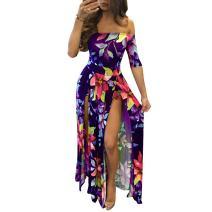 Women Sexy Maxi Romper Dresses - Plus Size Floral Off Shoulder Short Jumpsuits Summer Dress High Slit Purple 4XL