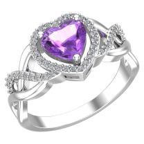 Belinda Jewelz 925 Real Sterling Silver Heart Shaped Gemstone Cubic Zirconia Womens Fine Ring