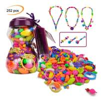 Happytime Snap Pop Beads Girls Toy 252 Pieces DIY Jewelry Kit Fashion Fun for Necklace Ring Bracelet Art Crafts Gifts Toys for 3, 4, 5, 6, 7 ,8 Year Old Kids Girls