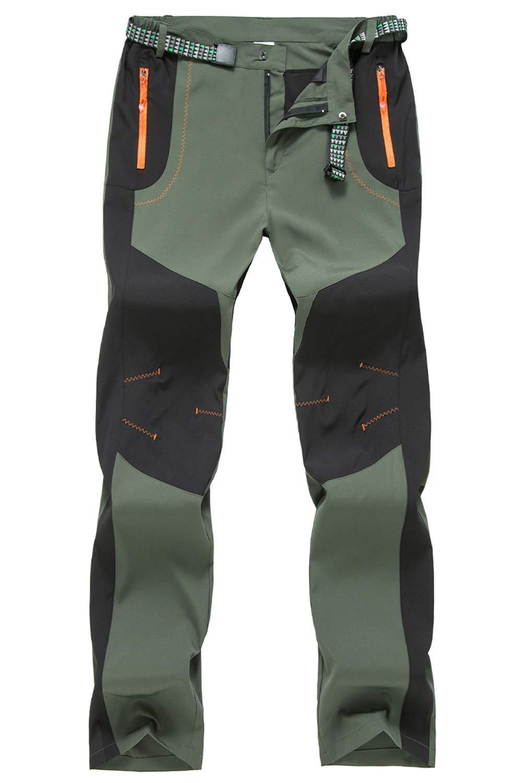 BGOWATU Men's Men's Hiking Pants Water Repellent Ripstop Cargo Pants with Zipper Pockets