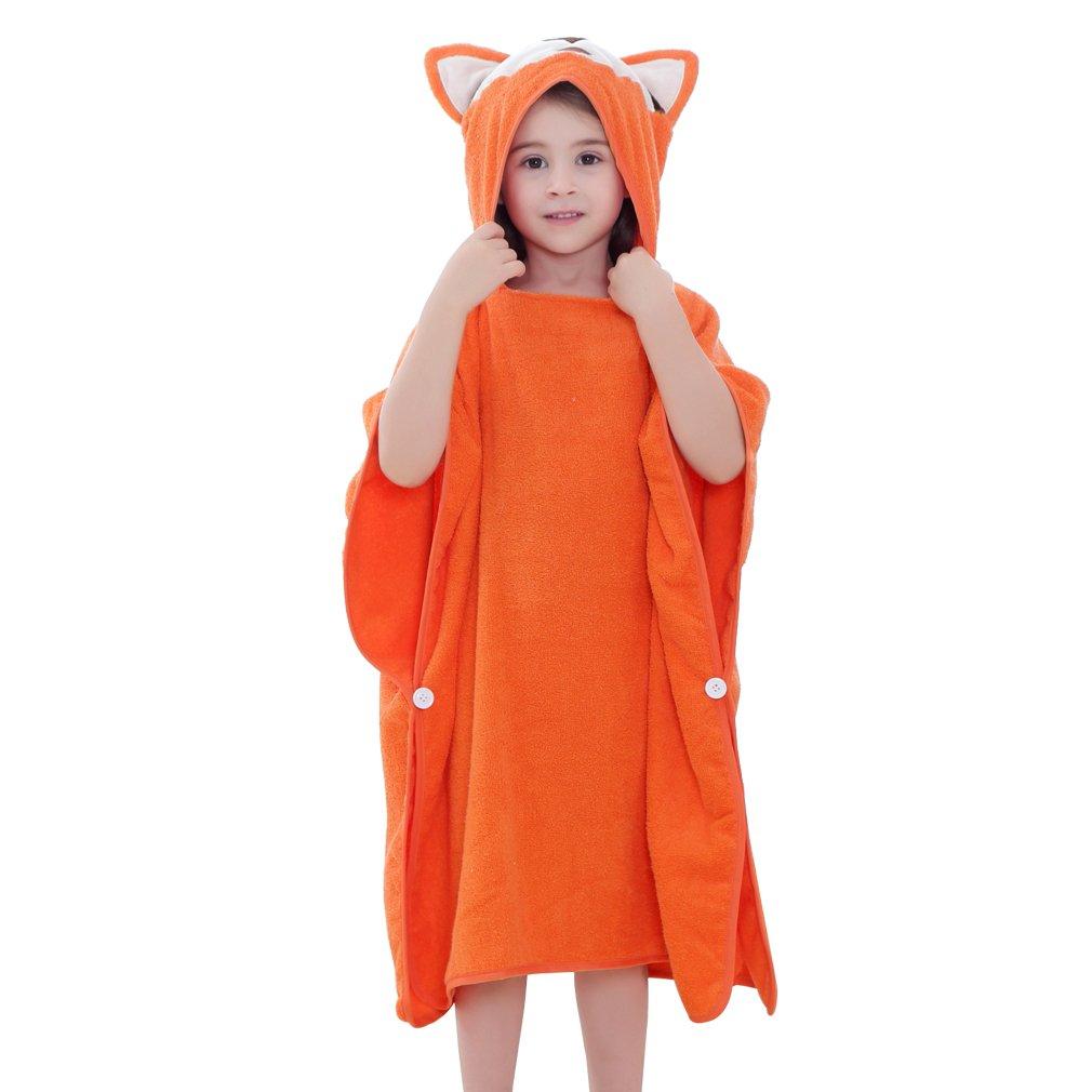 "MICHLEY Hooded Baby Unisex Beach Bath Poncho Towel, Soft Cotton Animal Kids Bathrobe for 2-6 Years, 27.5""X 27.5""(Fox)"