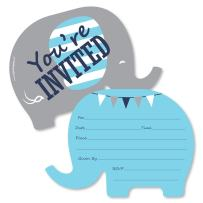 Blue Elephant - Shaped Fill-in Invitations - Boy Baby Shower or Birthday Party Invitation Cards with Envelopes - Set of 12