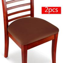 Boshen 2PCS Elastic Spandex Chair Stretch Seat Covers Protector for Dining Room Kitchen Chairs Stretchable (Coffee, 2)