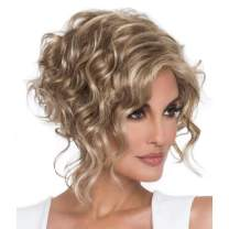 GNIMEGIL Mixed Blond Hair with Highlights Short Curly Wavy Wigs for Women in Heat Resistant Synthetic Fiber Hair Female Layered Wig Afro Curls Costume Party Cosplay